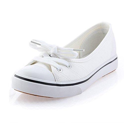 Minetom Mujer Chicas Moda Lona Zapatos Punta Redonda Tacón Plano Espadrilles Ocio Zapatos Blanco