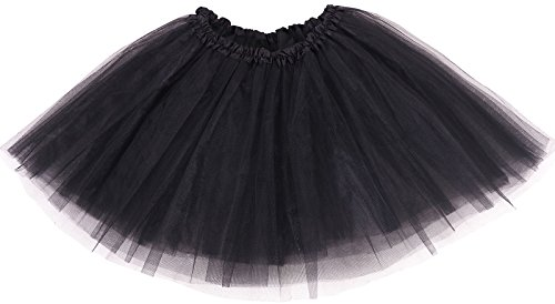 Adult Classic 3-layered Tulle Tutu Ballet Skirts Ruffle Pettiskirt, Black