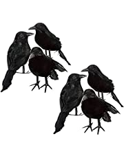 6 PCS Realistic Crows Handmade Black Feathered Crow, Halloween Decorations Raven Prop Outdoor Crows Halloween Decor Fake Raven,for Tree Haunted House Graveyard Tombstone Display