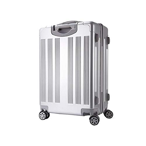 (BMHFF Luggage Carry On Luggage with 8 Spinner Wheels Hardshell Lightweight Suitcase with Password Lock Durable Trolley Case Boarding The Chassis 20in22in24in for Men and Women(Silver,20-inch))