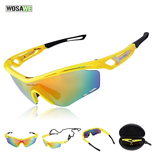 WOLFBIKE+Outdoor+Sports+Cycling+Sunglasses+with+3+Set+Interchangeable+Lenses%2C+Yellow+Frame