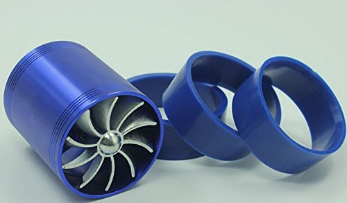 E93+F1-Z Double Supercharger Universal Turbine Turb Air Intake Fuel Gas Saver Fan Blue/Black