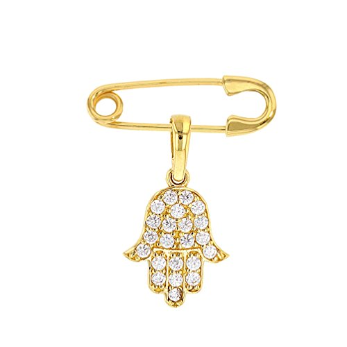 - Solid 14k Yellow Gold Hamsa Hand Of Fatima Safety Pin Brooch with Cubic Zirconia Gemstones