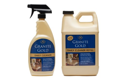 Granite Gold Daily Cleaner Value Pack daily granite cleaner, streak-free formula for stone countertops, marble, quartz, and tile 24 oz. spray & 64 oz. (Gold Granite)