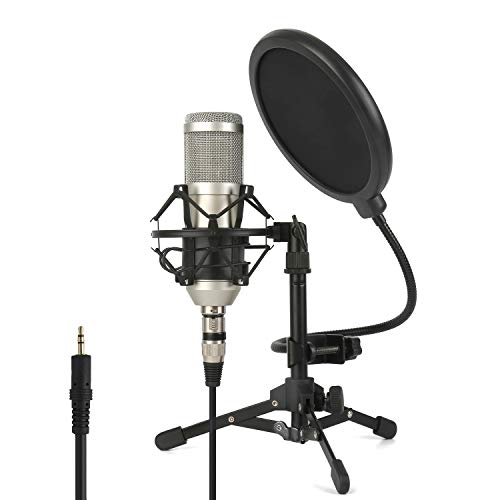 ZINGYOU Condenser Microphone ZY-801+, Professional Studio Microphone include Sound Card, Desktop Cardioid Condenser Mic, PC Recording and Broadcasting(Nickel)