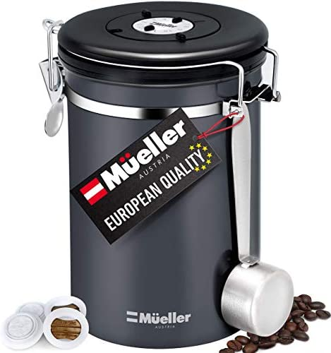 Muller Coffee Canister Stainless Steel Container for Coffee Beans or Grounds, Tea, Sugar, Rice - Day and Month Tracker, Build-In Calendar Wheel - 21oz Capacity - Stainless Steel Spoon Included