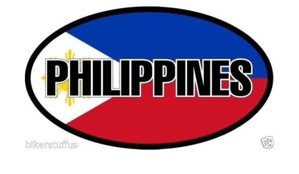 "Philippines Flag Oval car window bumper sticker decal 5/"" x 3/"""