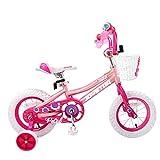 JOYSTAR 12 Inch Pink Kids Bike for Girls 2-4 Years with Training Wheels & Basket & Bike Streamers, 12 inch
