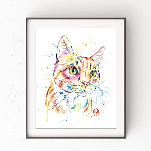 Orange Tabby Cat Art Print by Whitehouse Art | Cat Decor, Cat Gift for Cat Lovers, Pet Memorial Gift | Professional Print of Orange Tabby Cat Original Watercolor | Cat Mom | 5 Sizes