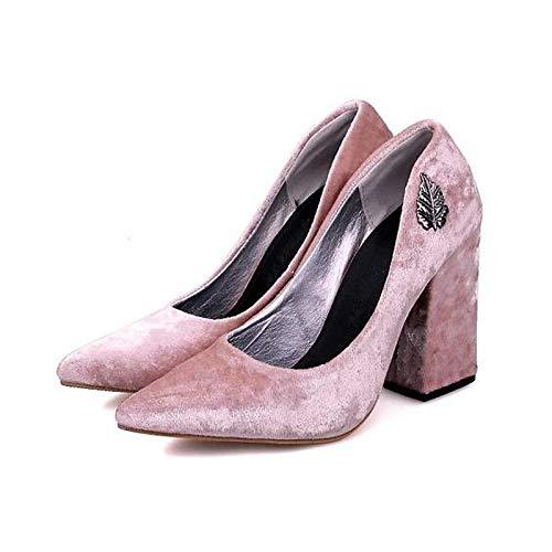 Basic Heel Black ZHZNVX Satin Chunky Heels Pink Yellow Pump Pink Women's Shoes Spring qw8zBwI