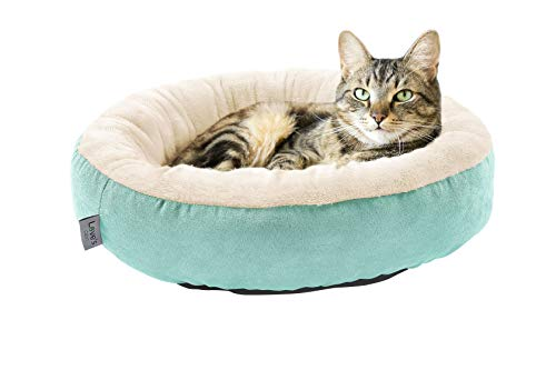 Donut Small Dog Bed - Love's cabin Round Donut Cat and Dog Cushion Bed, 20in Pet Bed for Cats or Small Dogs, Anti-Slip & Water-Resistant Bottom, Super Soft Durable Fabric Pet beds, Washable Luxury Cat & Dog Bed Blue