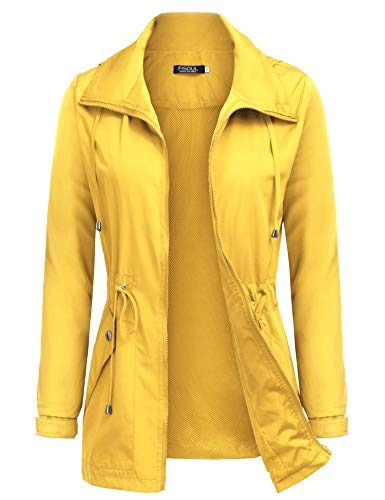 FISOUL Raincoats Women's Waterproof Lightweight Rain Jacket Outdoor Hooded Trench Yellow S]()