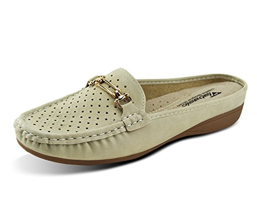 Jabasic Womens Casual Flats Mules Backless Loafers Shoes Walking Slippers(7.5,Beige) (Casual Slides Leather)