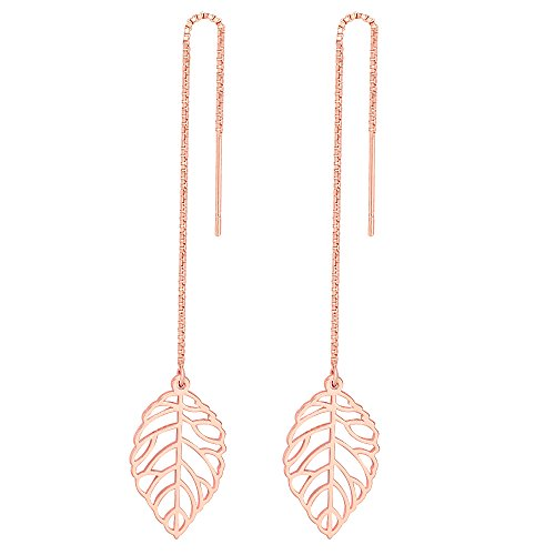 MANZHEN Nature Leaf Charm Threader Dangle Earrings (rose gold)