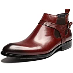 Zorgen Mens Chelsea Boots Genuine Leather Leather Strap Wedding Formal Dress Boots