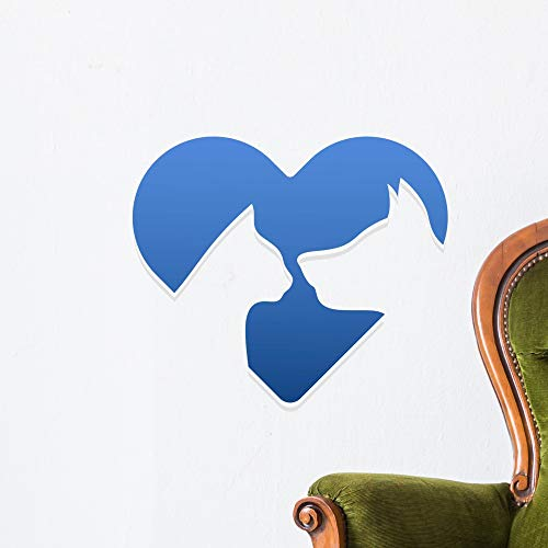 Wallmonkeys Cat and Dog Heart Wall Decal Peel and Stick Animal Graphics (18 in W x 18 in H) WM497150