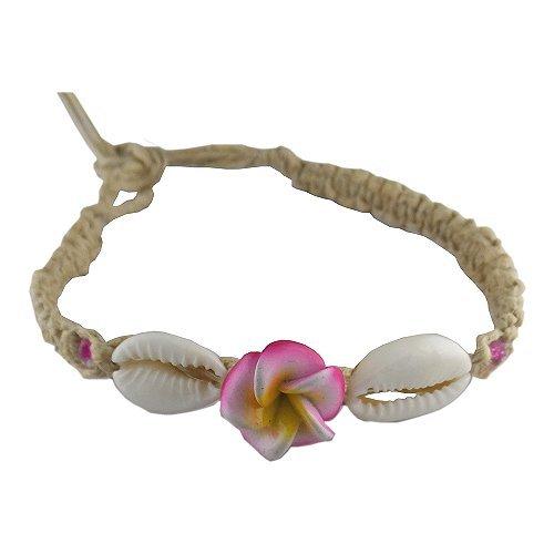 Hawaiian Hemp Plumeria Flower Shell Bracelet / Anklet