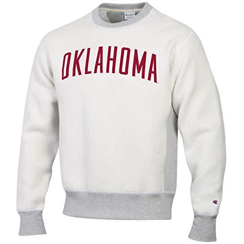 Oklahoma Crew Sweatshirt - Champion Men's NCAA Inside Out Reverse Weave Crew Sweatshirt-Oklahoma Sooners-Large