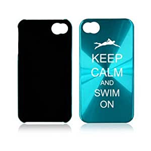 Apple iPhone 4 4S 4G Light Blue A1733 Aluminum Hard Back Case Cover Keep Calm and Swim On