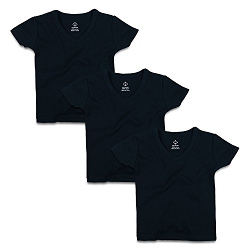 OPAWO Infant Baby Short Sleeve V Neck T-Shirts for Unisex Boy Girl 3 Pack (12-18 Months, Black)