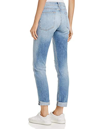 Dre Ankle – Slim Fit Boyfriend Jeans with Raw Frayed Hem in June (Destroyed)