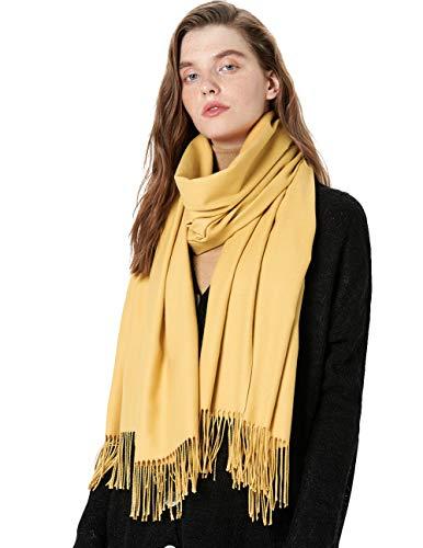 (MaaMgic Womens Large Soft Cashmere Feel Pashmina Shawls Wraps Light Scarf, Yellow)