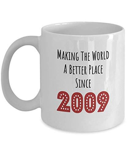 Born in 2009 Birthday Gift Ideas - White Coffee Mug for Men Women - Wife Husband Grandpa Grandma Him Her