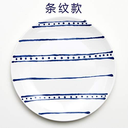 XQJDD Simple Mediterranean Nordic Meal Steak Plate Western Plate Cake Plate Household Plate Stripe 20x2cm ()