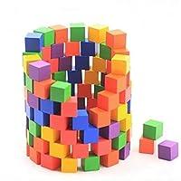 100 قطعة مكعبات بناء مربعة ملونة مناسبة كالعاب تعليمية للتعليم المبكر للصغار - العاب خشبية، الدومينو