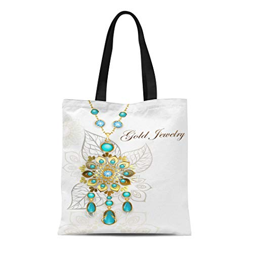 Semtomn Canvas Tote Bag Shoulder Bags Ethnic Gold Medallion Decorated in Oriental on Light Turquoise Women
