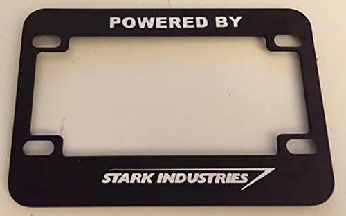 Powered By Stark Indusries - Black Motorcycle / Scooter License Plate Frame