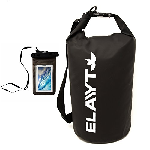 Dry Bag & CellPhone Pouch Set - Waterproof Black - by Elayyt- Shoulder Bags are Portable & Heavy Duty with a Roll Top & Strap - Best for Kayaking Hiking Travel Gym Camping & All Water Sports