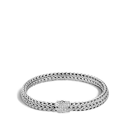 John Hardy Women's Classic Chain 6.5mm Silver Diamond Pave Small Bracelet (0.16ct) Large ()