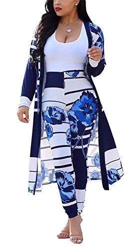 - Womens Floral Print Long Sleeve Kimono Cardigan Cover up Long Pants Set 2 Piece Suit Outfits Plus Size