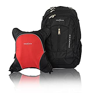 Bern Diaper Backpack, Shoulder Baby Bag, With Food Cooler, Clip to Stroller (Black/Red)