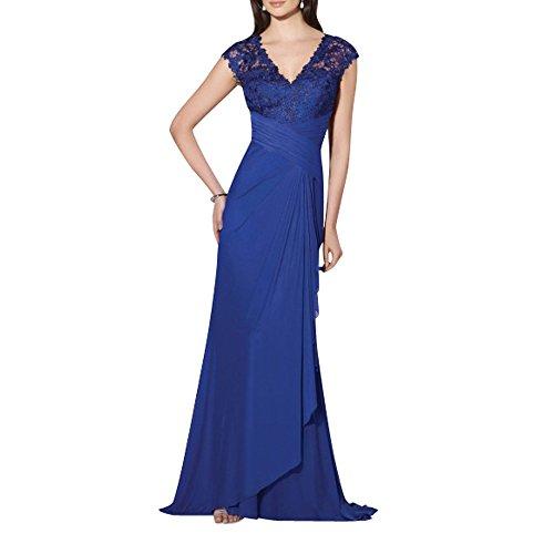 Royal Chiffon Charmant Spitze Fliessend Damen Abendkleider Abiballkleider Blau Royal Lang Blau Abschlussballkleider qwwavRB