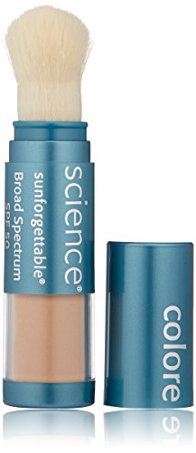 Colorescience Brush-On Sunscreen, Sunforgettable Mineral Powder for Sensitive Skin, Broad Spectrum SPF 50 UVA/UVB Protection Best Tinted Moisturizer Oily Skin