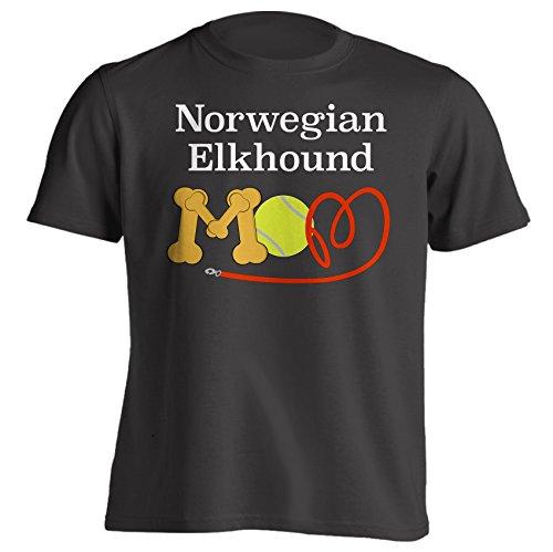 Funny Norwegian Elkhound Mom Dog Breed T-Shirt - Black Unisex Style - XL