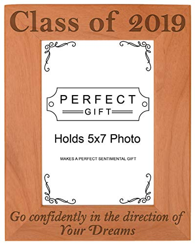 Gifts For All By Rachel Olevia Graduation Gift Class of 2019 Senior Quote Natural Wood Engraved 4x6 Portrait Picture Frame Wood