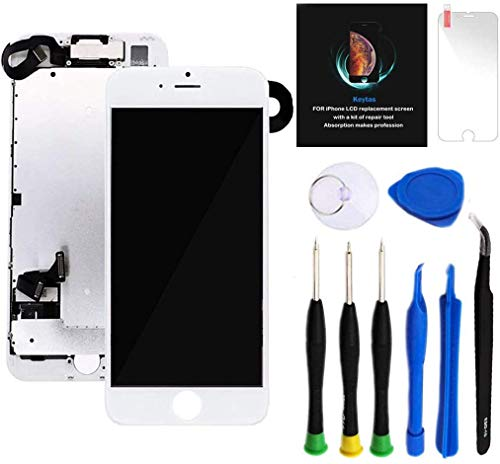 """Keytas Compatible with iPhone 7 Plus Screen Replacement Kit White 5.5"""" LCD for iPhone 7 Plus 3D Touch Screen Digitizer Full Assembly with Front Camera+ Earpiece+ Tools Kit+ Screen Protector (White)"""