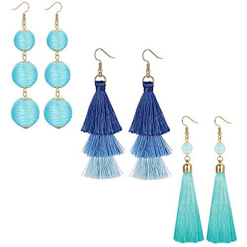 LOLIAS 3 Pairs Long Thread Tassel Earrings Set for Women Girls Beaded Fringe Tassel Earrings Gradient,Blue