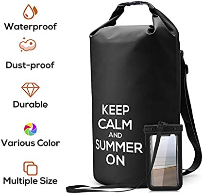e337ccd87c26 NUMYTON Waterproof Dry Bag with Backpack Straps, Floating Roll Top Dry Sack  with Waterproof Phone Pouch for Kayaking,Surfing, Boating, Canoeing, ...