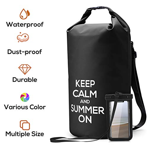 NUMYTON Waterproof Dry Bag with Backpack Straps, Floating Roll Top Dry Sack with Waterproof Phone Pouch for Kayaking, Boating, Canoeing, Fishing, Rafting, Swimming, Camping, Surfing, Black, 10L