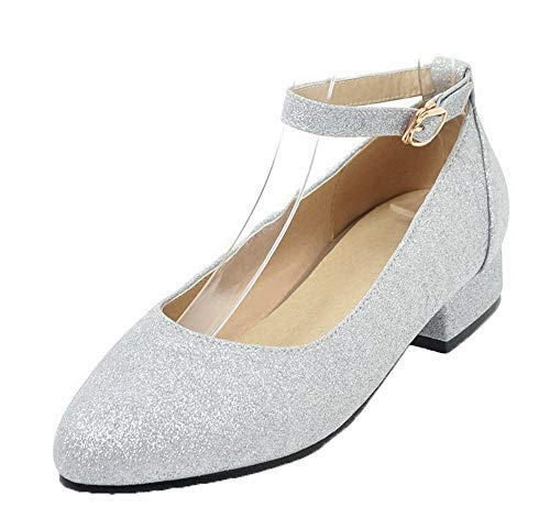 Plateado Tacón Agoolar Puntera De Zapatos Pu Tacón Mujeres Gmxdb006325 Mini Redonda xvgfvFawq
