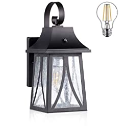 Garden and Outdoor Cloudy Bay Outdoor Wall Lantern with Dusk to Dawn Photocell, Includes LED Filament Bulb,Oil Rubbed Bronze outdoor lighting