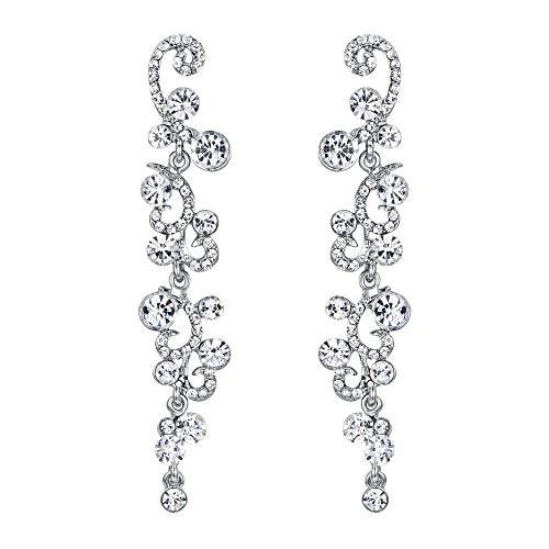 EVER FAITH Bridal Flower Wave Austrian Crystal Dangle Earrings Silver-Tone - Clear
