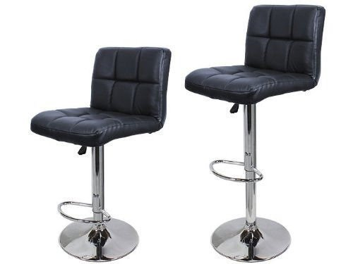 Ediors Set Of 2 Swivel Elegant PU Leather Adjustable Hydraulic Morden Bar Stools Chairs Black