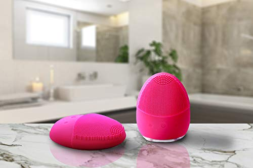 Waterproof Facial Cleansing Brush - Cleanser Sonic Silicone Face Scrubber For Cleaning All Skin Type - Face Scrubber Electric with Rechargeable USB - Recommended facial cleanser brush by Dermatologist