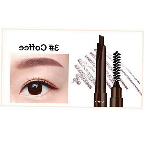 (Kaputar Double Head Brow Tattoo Pen Eyebrow Pencil with Brush Automatic Rotate Triangle | Model MKPBRSH - 3013 |)