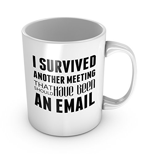 I Survived Another Meeting That Should Have Been An Email Ceramic Coffee Mug Funny Co-worker Gift Office Humor Mug New Job Gift 11 oz